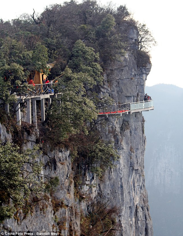 A glass path suspended on a cliff face is seen on Tianmen Mountain on November 9, 2011