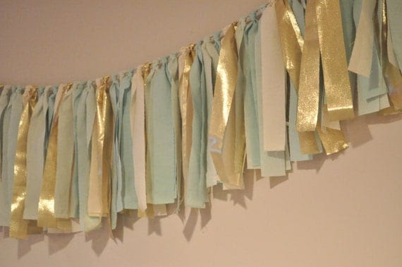 "Mint green seafoam and gold hand dyed Fabric ""rag"" garland - Wedding & Party decor,"