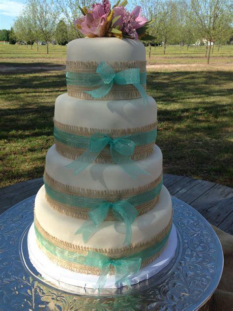 Burlap and ribbon wedding cake   Kuirky Cakes   Tiffany