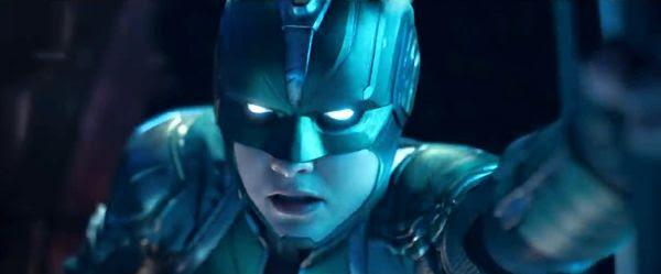Carol Danvers dons her Kree battle helmet in CAPTAIN MARVEL.