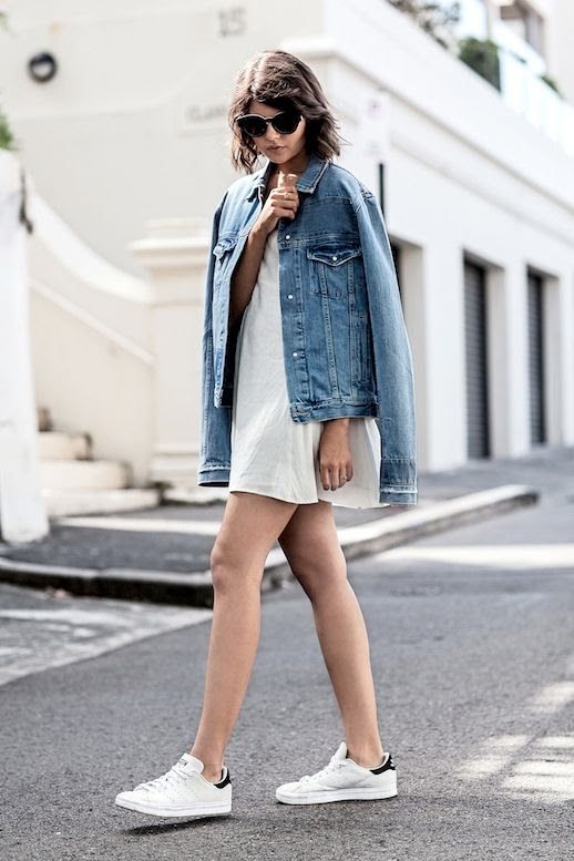 Le Fashion Blog Blogger Style Casual Cool Oversized Sunglasses Denim Jacket White Slip Dress Adidas Stan Smith Sneakers Via Badlands