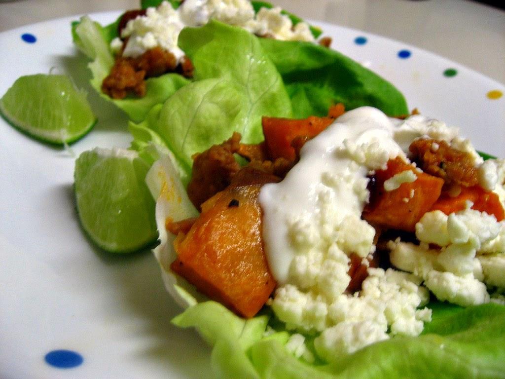 Sweet Potato Chorizo Lettuce Wraps