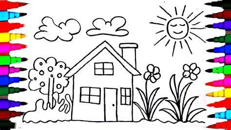 draw kids playhouse learning coloring pages
