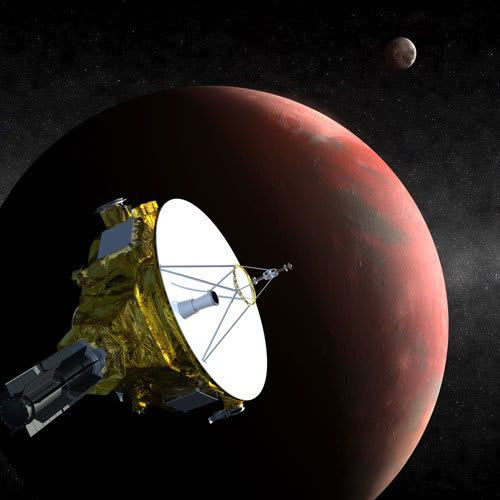 An artist's concept showing the New Horizons spacecraft soaring past Pluto.