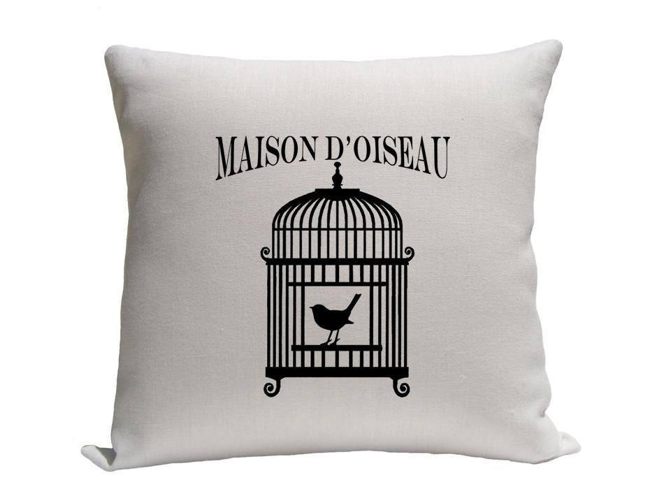 Pillow - Decorative pillow - Throw pillow - Accent pillow  Decorative throw pillow - Birdcage pillow - Linen pillow - Black and white