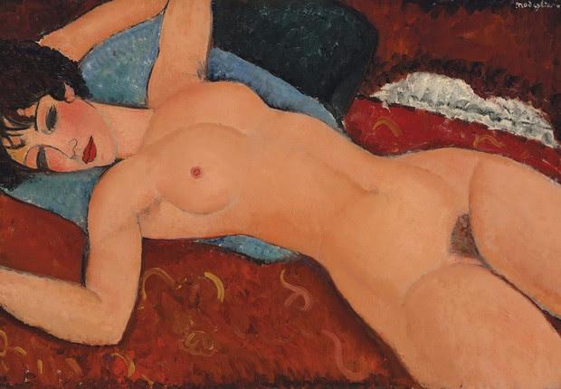"""""""Nu couche"""" (Nu reclinado), do pintor italiano Amedeo Modigliani, alcançou US$ 170,4 milhões em leilão na Christie's, batendo o recorde anterior do artista, que era de US$ 71 milhões. Tornou-se a segunda pintura mais cara após Picasso (Foto: Christie's/EFE)"""