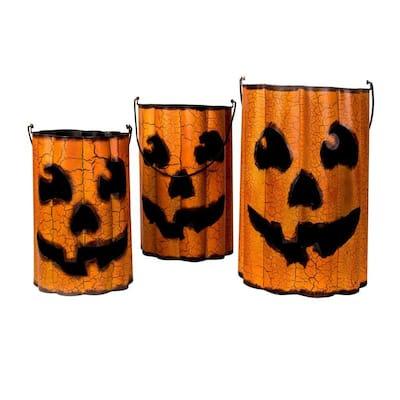 Home Accents Holiday Metal Pumpkin Halloween Luminaries ...