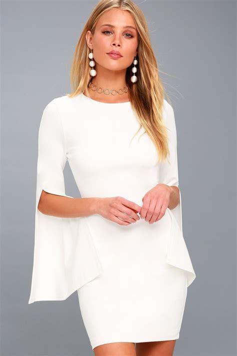 Chic White Dress   Bell Sleeve Dress   Bodycon Dress   LWD