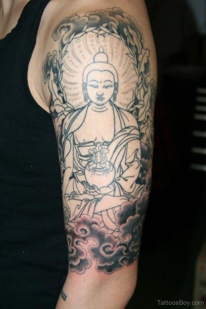 Grey Buddha Tattoo On Half Sleeve Tattoo Designs Tattoo Pictures