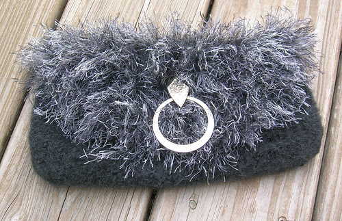 Charcoal & Smoke Felted Clutch