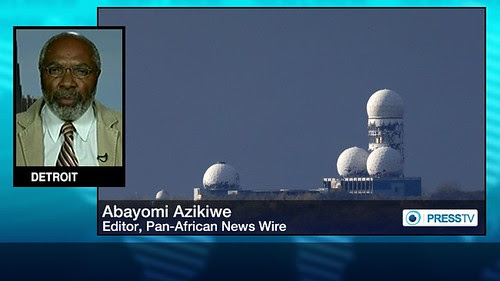 Abayomi Azikiwe, editor of the Pan-African News Wire, in graphic for Press TV worldwide satellite television news channel. Azikiwe is a frequent guest on various media outlets. by Pan-African News Wire File Photos
