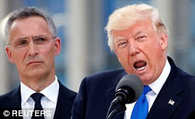 Donald Trump (pictured with NATO Secretary General Jens Stoltenberg on May 25 in Brussels) has repeatedly attacked NATO - but his criticisms have not always been accurate