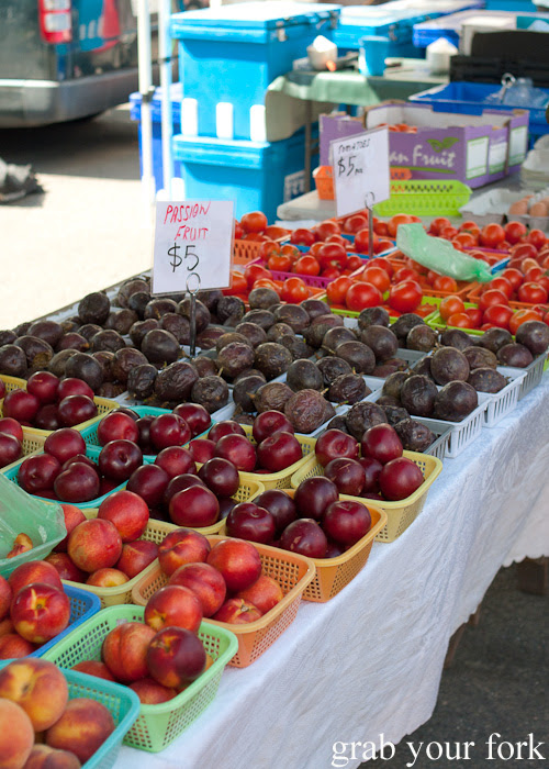Nectarines, plums and passionfruit at Frenchs Forest Organic Food Market