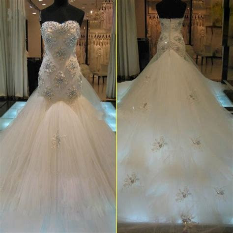 Real Image Mermaid 2015 Wedding Dresses Sweetheart Luxury