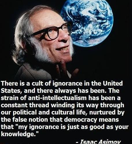 Image result for isaac asimov ignorance