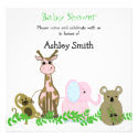 Cute Zoo Animal Baby Shower Invitation