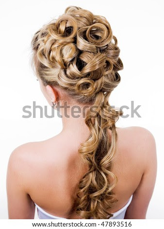 stock photo beauty wedding hairstyle rear view isolated on white