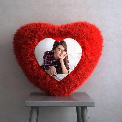 Heart Shaped Fur Cushion with photo