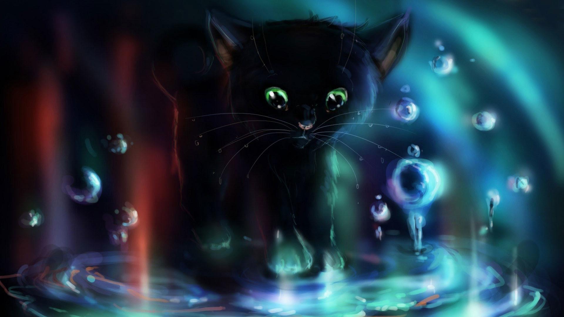 Cat Black Cat Wallpaper Cartoon