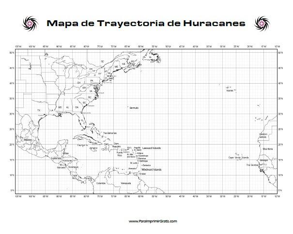 Mapa De Trayectoria De Huracanes Para Imprimir Gratis