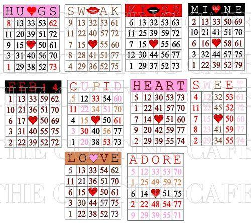 valentines day bingo cards - good number identification practice ...