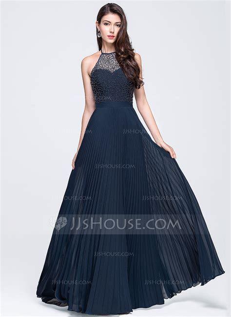A Line/Princess Halter Floor Length Chiffon Prom Dresses