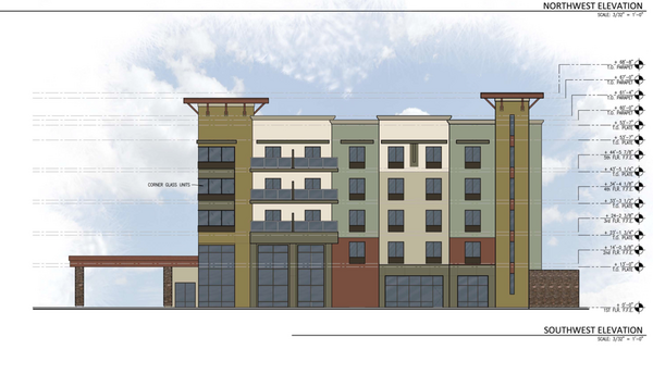 An elevation of the Hampton Inn & Suites proposed for North First Street in San Jose