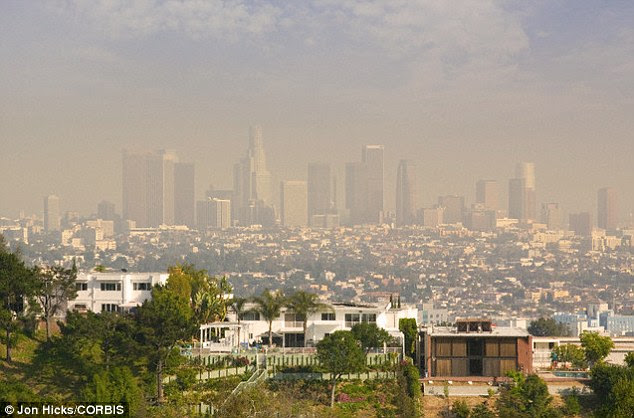 A host of studies have linked air pollution, like that pictured forming a haze over Los Angeles, to cancer
