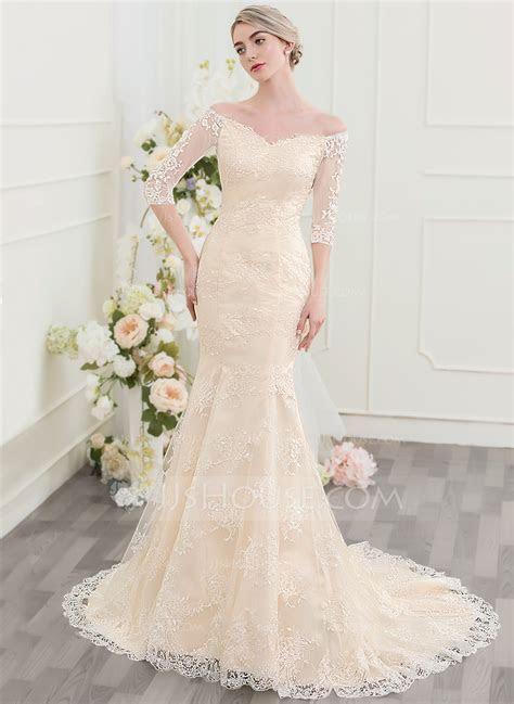 Trumpet/Mermaid Off the Shoulder Court Train Lace Wedding