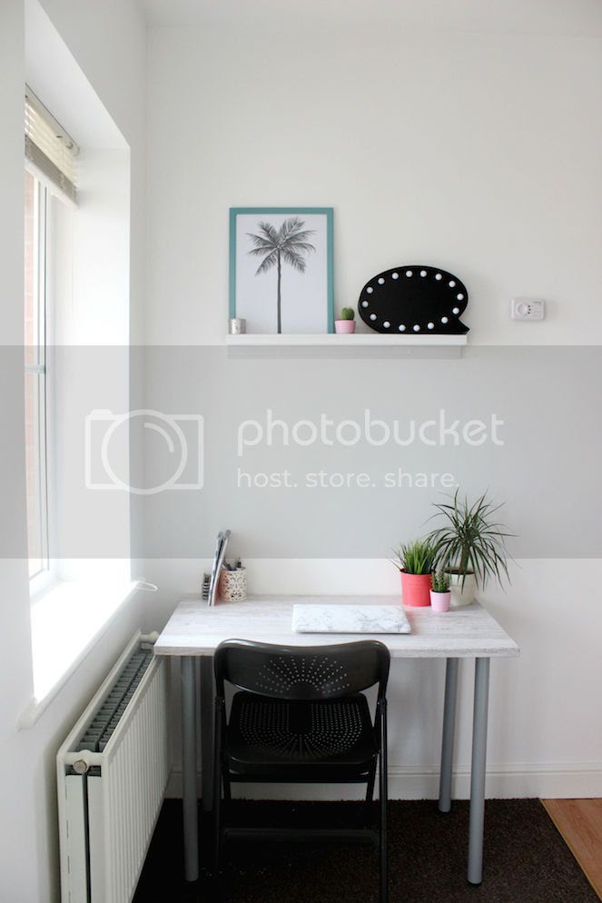 small office desk space grey interior