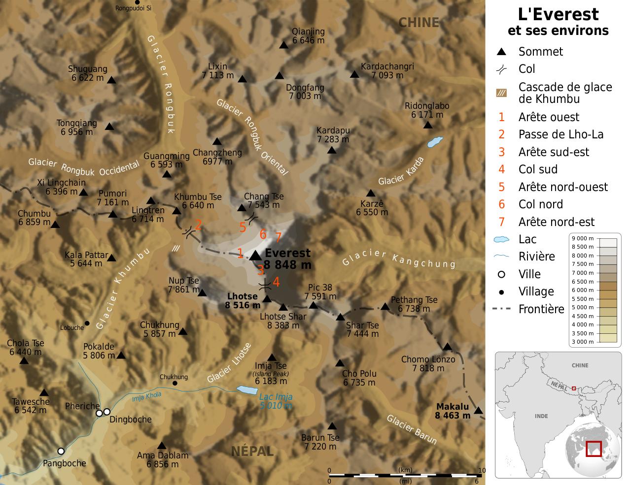 Filemount Everest Region Map Fr Svg Wikimedia Commons