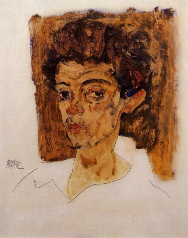 Egon Schiele, Self-Portrait with brown background, 1912