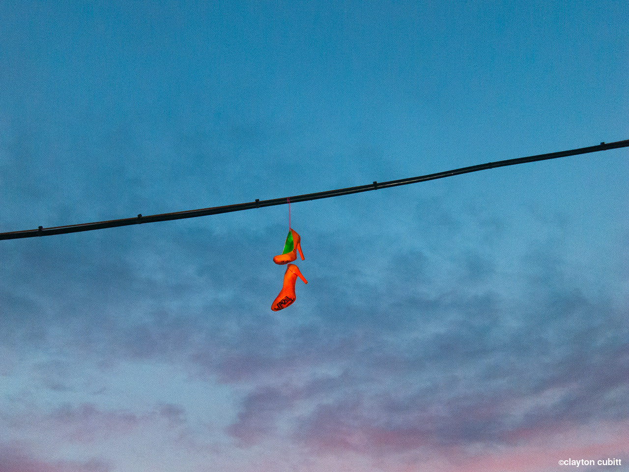 Heels over power line at sunset   (1153)