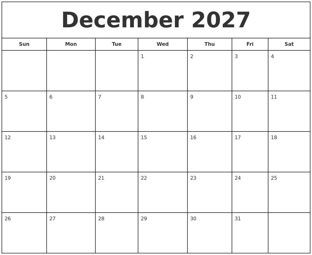 december 2027 print free calendar