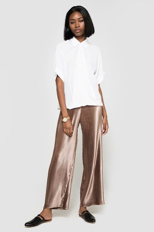 Le Fashion Blog Fall Style White Top Gold Watch Slinky Metallic Pants Black Flats Via Need Supply Co