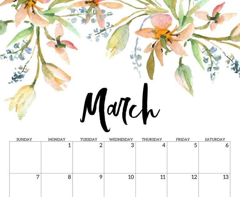 Aesthetic Calendar 2021 Cute | Printable March