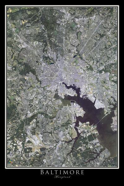Baltimore Maryland Satellite Poster Map Aerial Views