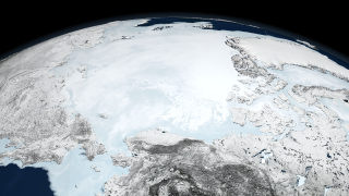 Image of Arctic sea ice on March 10, 2008 when the sea ice reached the annual maximum extent of 15.21 million square kilometers (5.87 million square miles).
