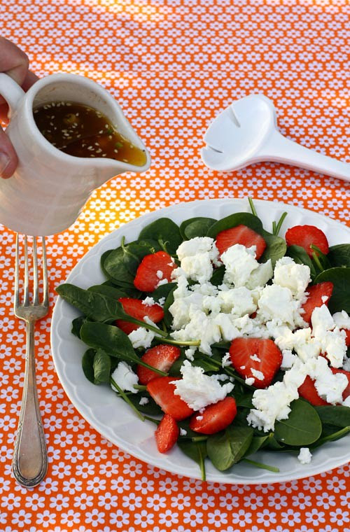 strawberry, spinach and feta cheese salad.
