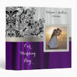 Our Wedding Day | Elegant White & Purple Satin Binders