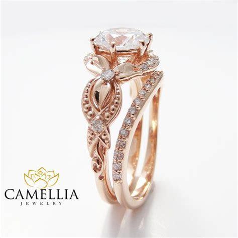 Unique Moissanite Engagement Ring Set 14K Rose Gold