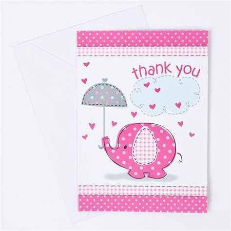 Pink Elephant Print Baby Shower Thank You Cards, Pack Of 8