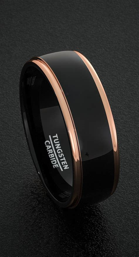 Mens Tungsten Wedding Bands 8mm Mens Ring Two Tone Black