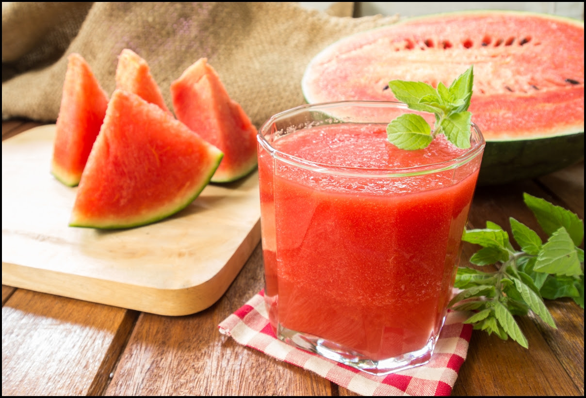 Homemade Watermelon juice and sliced watermelon