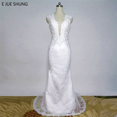 E JUE SHUNG White Appliques Lace Mermaid Wedding Dresses