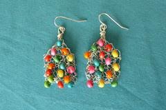Knitted earrings - vibrant
