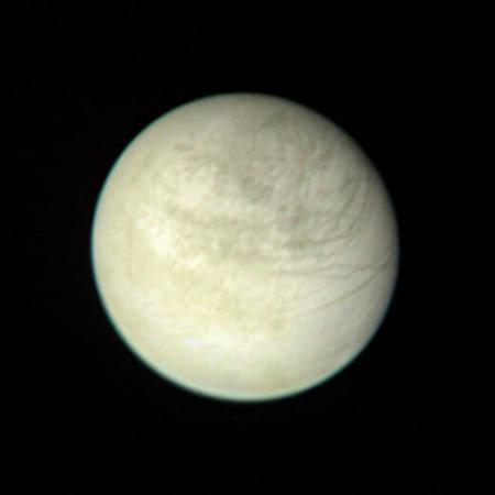 View of Europa taken from a range of 2,869,252 kilometers (1.6 million miles) on March 2 at 2:00 PM.