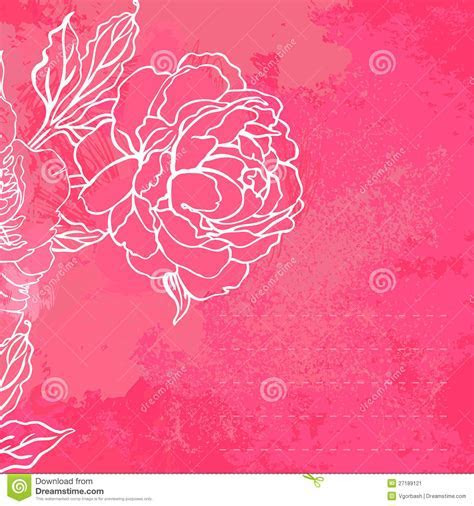 Beautiful Peony Bouquet Design On A Pink Background Stock