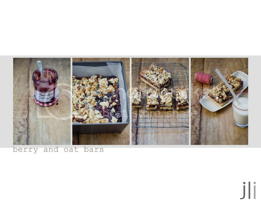 mixed berry and oat bars