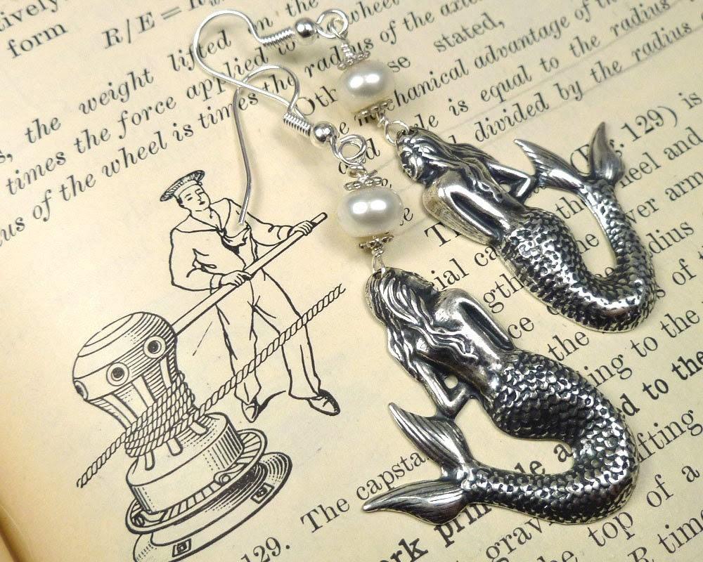 Mermaid Earrings Pearl Earrings Silver - sandrandan